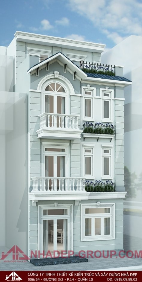 Mẫu nhà phố đẹp 6m cổ điển